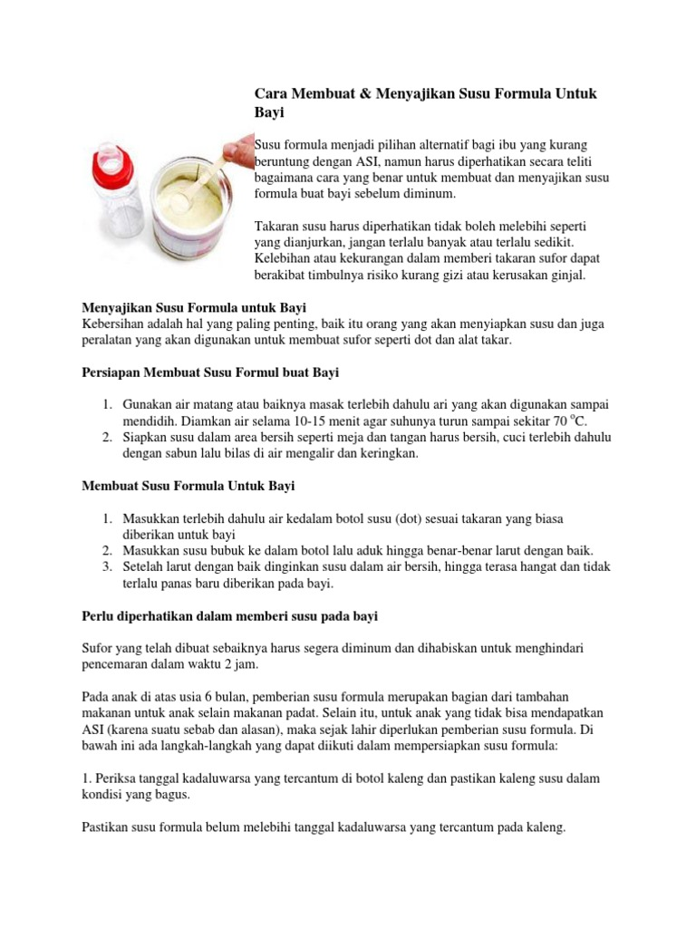 Cara Membuat Menyajikan Susu Formula Untuk Bayi