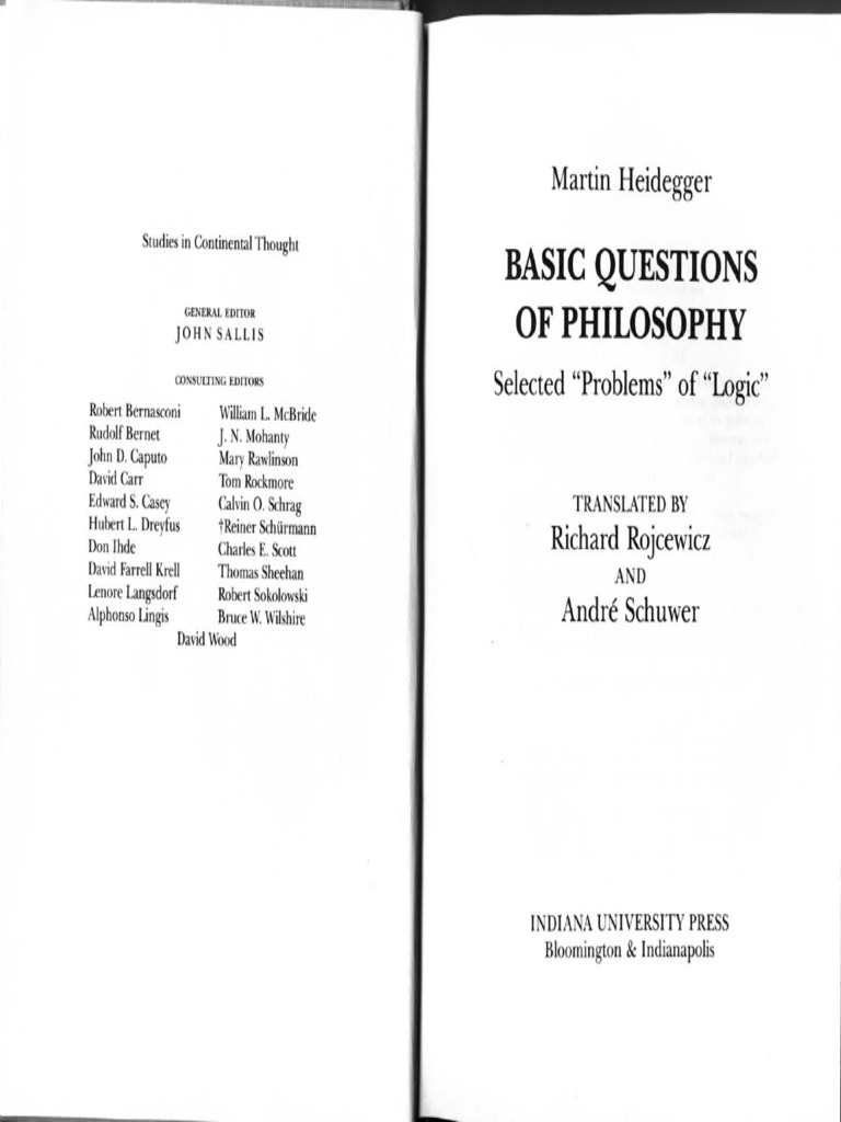 Basic Questions of Philosophy Selected Problems of Logic