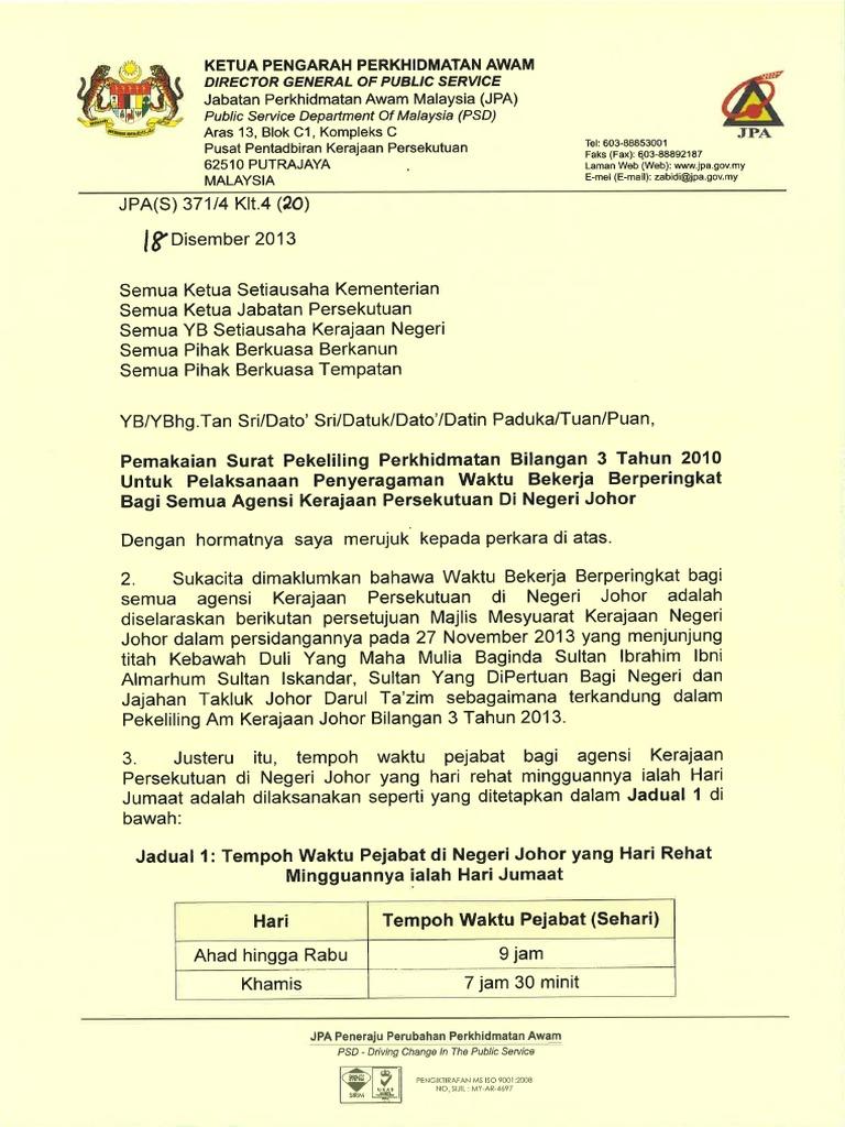 Waktu Bekerja Kakitangan Awam Persekutuan Di Negeri Johor