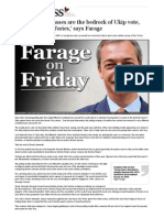 FARAGE on FRIDAY 'Working Classes Are the Bedrock of Ukip Vote, Not Disaffected Tories'.