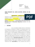 Municipalidad de Lima presenta apelación ante JNE