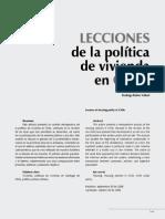 Lecciones de La Politica de Vivienda en Chile