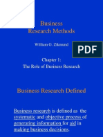 role of Business Research ch#1 of zikmound book