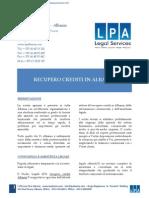 Brochure Recupero Crediti Albania LPA Studio Legale Albania Dec2013