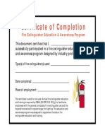Fire Extinguisher Certificate