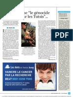Paris Enseigne Le Genocide Des Hutus Par Les Tutsi - Libre Belgique - 19/12/2013