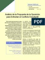 Analisis de La Propuesta de La Oposicion Para Enfrentar El Conflicto Educacional