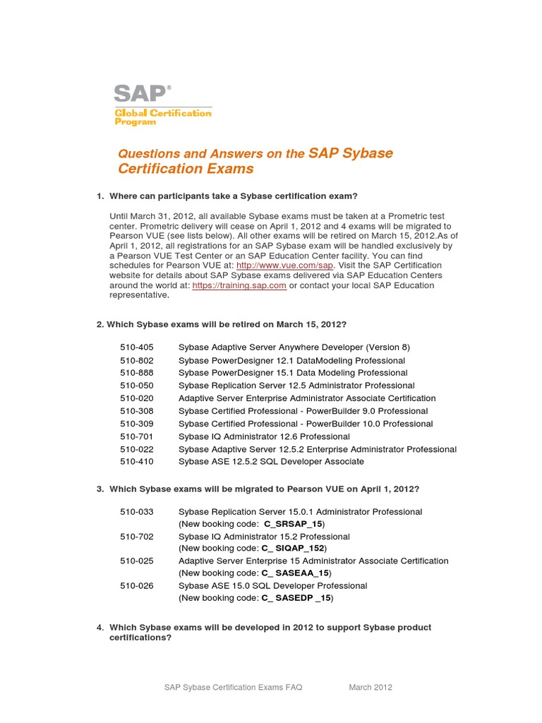 Faq Sap Sybase Certification V10 Test Assessment Professional