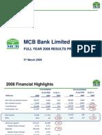 MCB Bank Limited 2008 IR Presentation