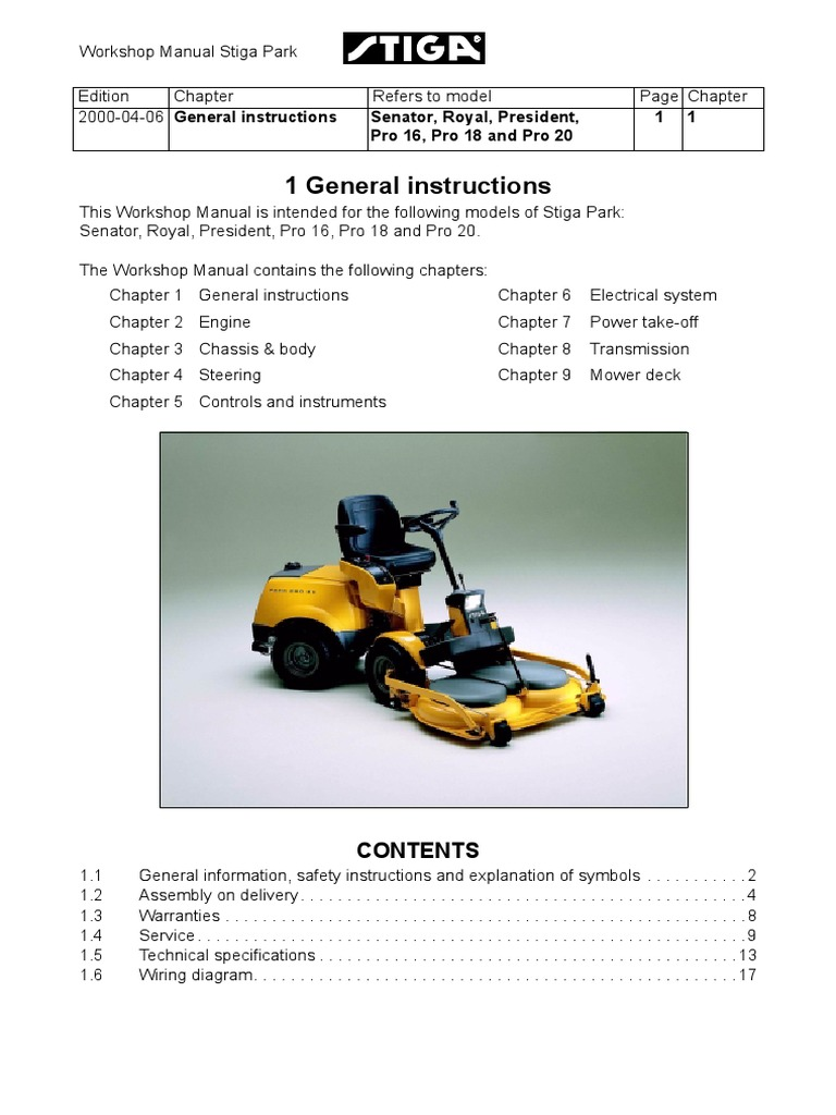 stiga pro 16 workshop manual transmission mechanics motor oil rh scribd com Grasshopper Mowers Toro Mowers