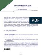 Le Città Metropolitane nel testo approvato il 21 dicembre 2013 dalla Camera dei Deputati