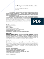 Programação Seminário Cultura e Protagonismo Social na América Latina
