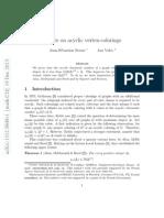 Jean-Sébastien Sereni, Jan Volec - A note on acyclic vertex-colorings (arXiv, 2013, December, 19th)