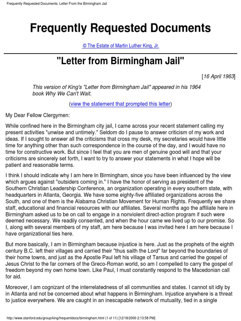"mlk letter 4 pages Humanitie ar ni 4 national aideia enter, 2013 wwpaideiaorg 3 of 49 module 1 - is freedom the goal - martin luther king's ""letter from a birmingham jail."