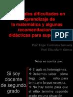 Dificultades en El Aprendizaje Matematica