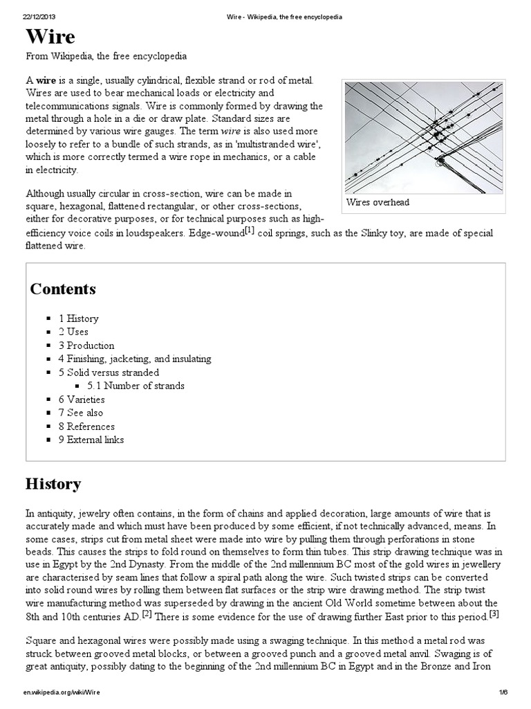 wire wikipedia the free encyclopedia wire cable rh es scribd com