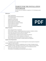 Method Statement for the Installation of 11kv Hv Switchgear