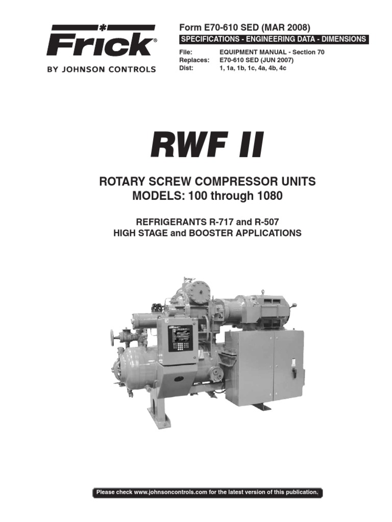 frick rotary screw compressor gas compressor refrigeration rh scribd com Frick Rotary Screw Compressor Frick Compressor Manuals RWB
