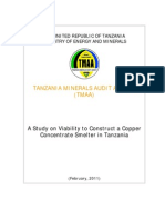A Study on Viability to Construct a Copper Concentrate Smelter in Tanzania1