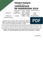 Madrassa Admission 2014