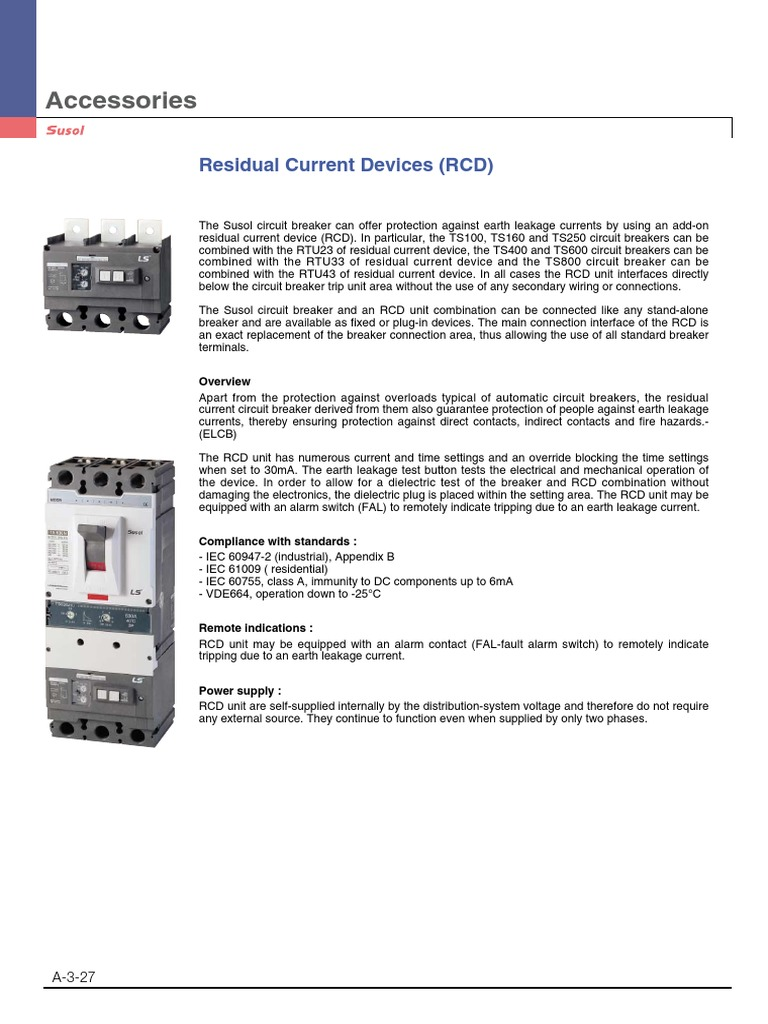 Rcd Add On Devices Electricity Electrical Engineering Internal Components Of A Circuit Breaker