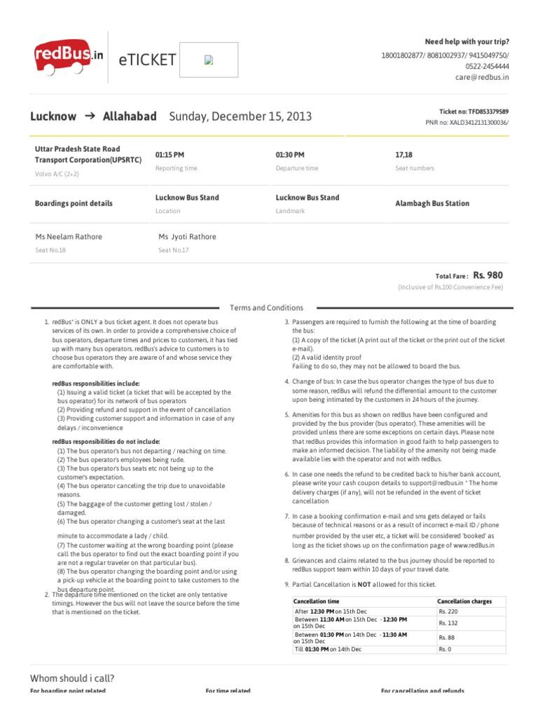 RedBus Ticket Format | Ticket (Admission) | Public Transport