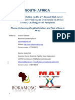 Youth Consultation on the 2nd Annual High Level Dialogue on Governance and Democracy in Africa