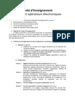 Programme Circuits Et Operateurs Electroniques