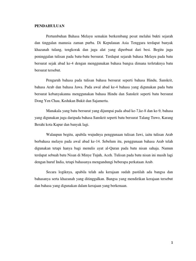 Bahasa Melayu Pada Batu Batu Bersurat