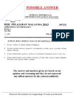 Add Maths Paper 2 Marking Scheme SPM 2013