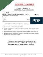 Add Maths Paper 2 Marking Scheme SPM 2013