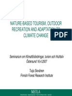 NATURE-BASED TOURISM, OUTDOOR RECREATION AND ADAPTATION TO CLIMATE CHANGE