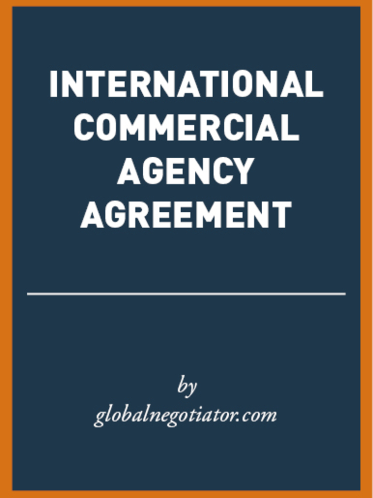 International Commercial Agency Agreement Sample Law Of Agency