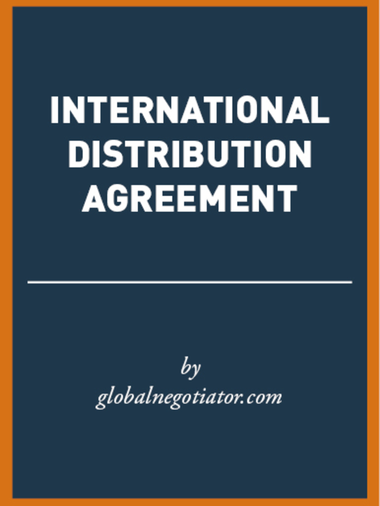 International Distribution Agreement Sample Distribution Business