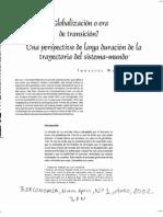 Wallerstein Globalizacion o Era de Transicion