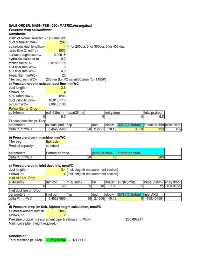 Pressure Drop Calculations MA59 | Duct (Flow) | Pressure