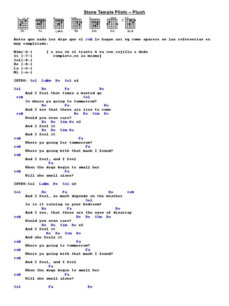 Stone Temple Pilots Plush Lyrics And Chords
