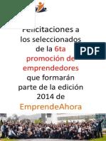 Resultados - Becarios EmprendeAhora VI Edición