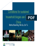 Conditions for Sustained Household Biogas Use in Rural China