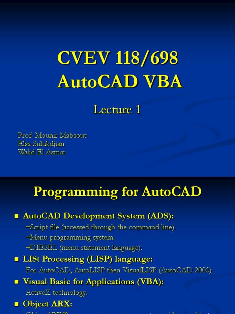 AutoCAD VBA PPT | Visual Basic For Applications (194 views)