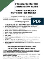 Hauppauge WinTV HVR1600 TV Tuner Quick Install Guide