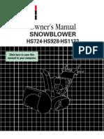 Owner's Manual SNOWBLOWER HS724%HS928%HS1132