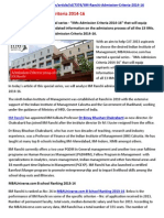 IIM Ranchi Admission Criteria 2014-16