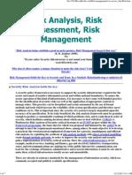 Risk Analysis, Assessment, Management
