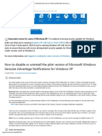 How to Disable or Uninstall the Pilot Version of Microsoft Windows Genuine Advantage Notifications for Windows XP
