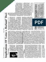 Implication of Lotus v. Borland, Lawyers Weekly, 1995