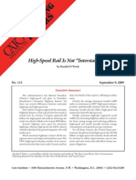 """High-Speed Rail Is Not """"Interstate 2.0"""", Cato Briefing Paper No. 113"""
