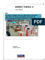 A study on Major factors affecting Consumer   purchase decisions,regarding purchase of CTVs,Refrigerators&Computers in Kolkata.