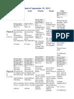 2013-14 plans - week of september 29 2013