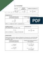 Simple Random Sampling - Formula Sheet